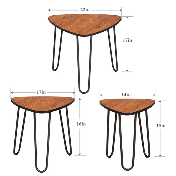 3-Piece Nesting Side Coffee Stacking End Tables