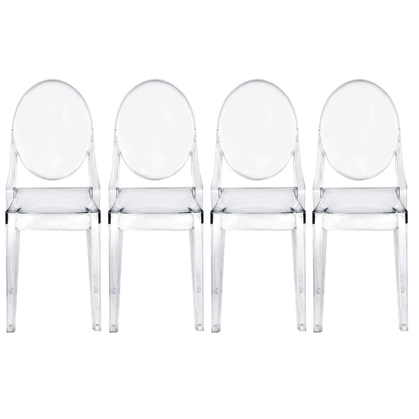 Transparent Ghost Side Chair Oval Back-Set of 4 Fully Assembled - Vecelo furniture