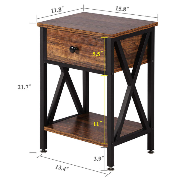 Nightstand Side End Table With Bin Drawer - Vecelo furniture