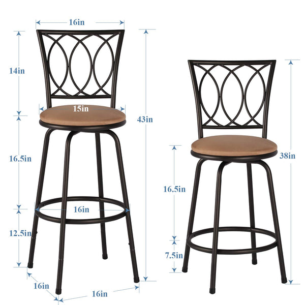 Swivel Modern Barstool Bistro Pub Chair Sytle B -Set of 2