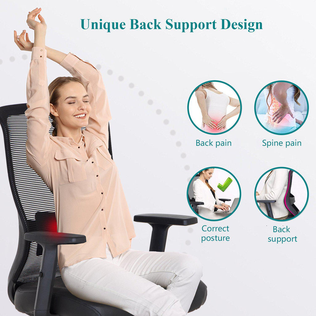 Pu Cushion Home Office Chair For For Task Desk Work Black Vecelo
