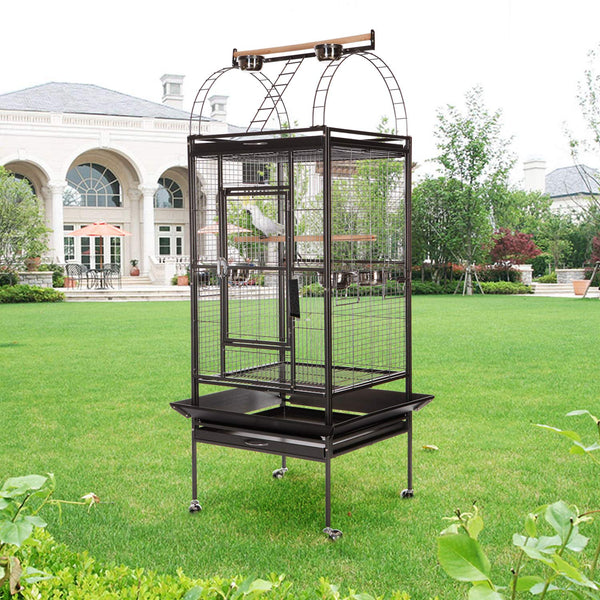 Bird cage Wrought Iron Flight Parrot Rolling Trolley Metal Wheels