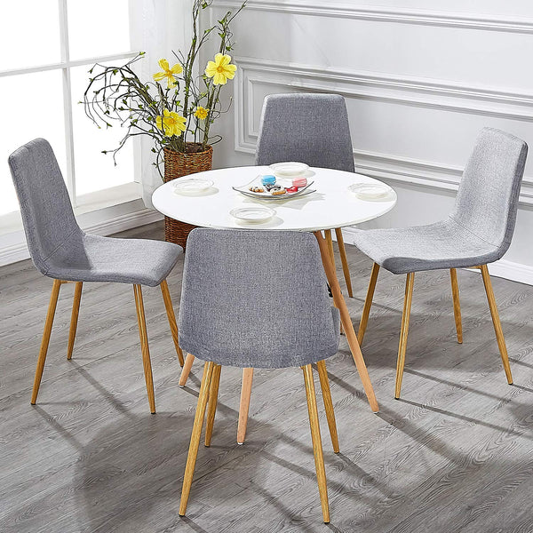 Set of 4 Dining Side Chairs Cushion Back Chairs Gray