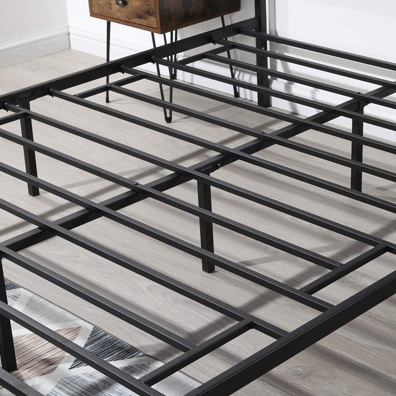 Metal Bed Frame with Wooden Headboard