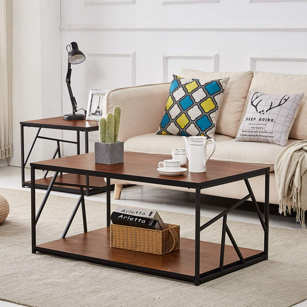 Modern Coffee Tea Table Wooden Side Table with Storage Black Metal