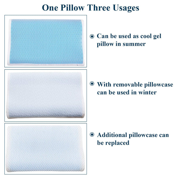 Memory Foam Contour Pillow Cooling Gel for Side Sleeper Relieve Neck Pain Hypoallergenic