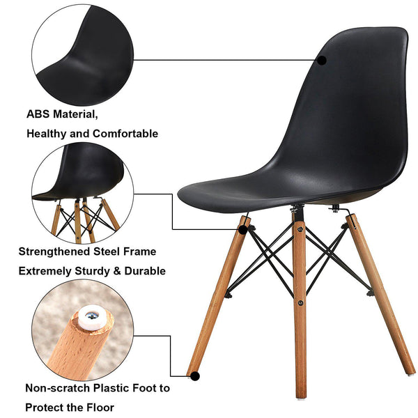 Eames Chair Set of 4 Dining Side Chairs with Natural Wood Legs Black/White
