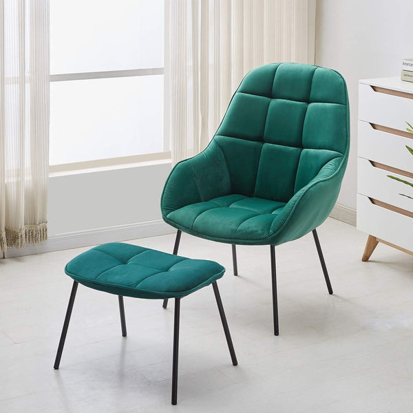 Lounge Sofa Chair with Ottoman Gray/Green - Vecelo furniture