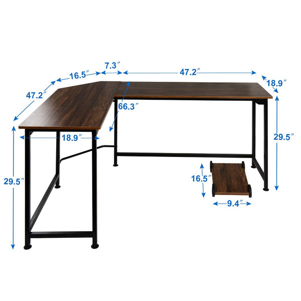 Computer Desk Corner L-Shaped Study Writing - Vecelo furniture