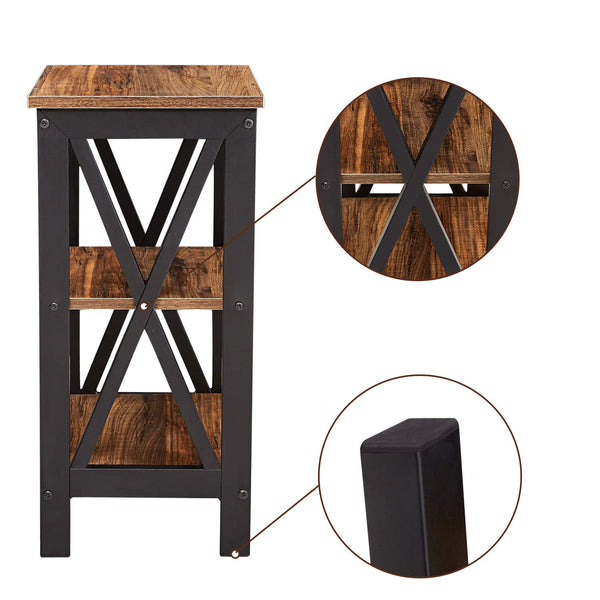 3 Tier Nightstand/End Table/Bedside Table with Storage Open Shelf