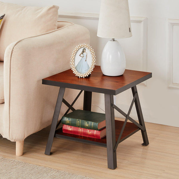 Open Storage Shelf Coffee Table End Table Square Industrial Style