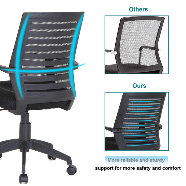 Mesh Office Back Chair Computer Chair Padded Cushion Black