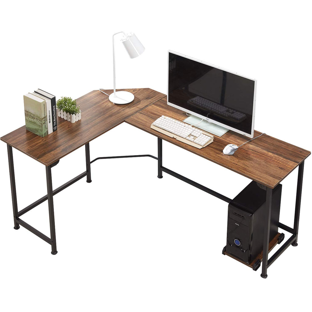 Modern L Shaped Corner Computer Desk With Cpu Stand Pc Laptop Study Writing Table Workstation For Home Office Vecelo
