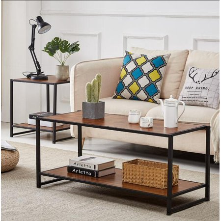 Rectangle Coffee Cocktail Table with Storage Shelf Metal Frame