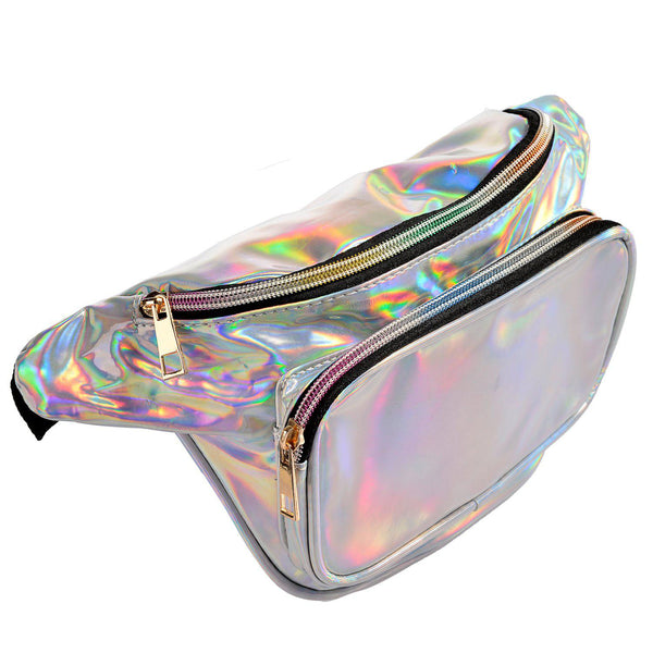 silver waist pack purse bag for women