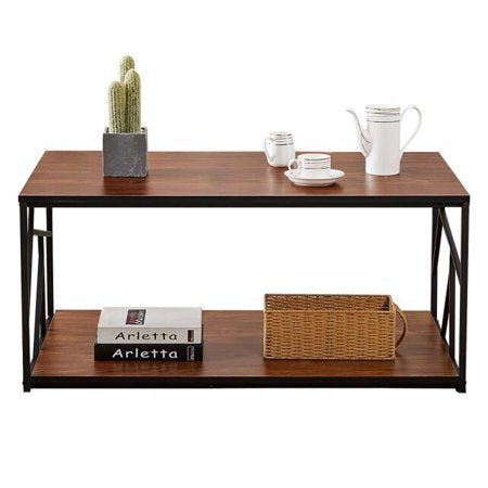 Rectangle Coffee Cocktail Table with Storage Shelf Metal Frame VECELO