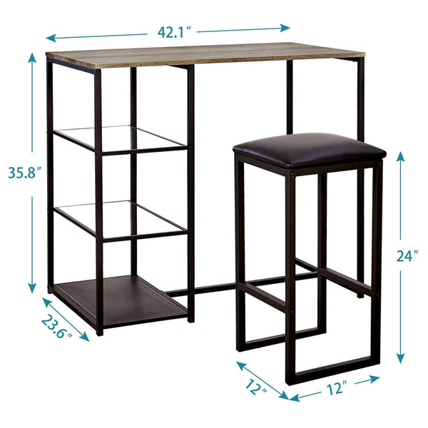 3 Piece Dining Set with Storage Shelf Glass 2 Upholstered Stools