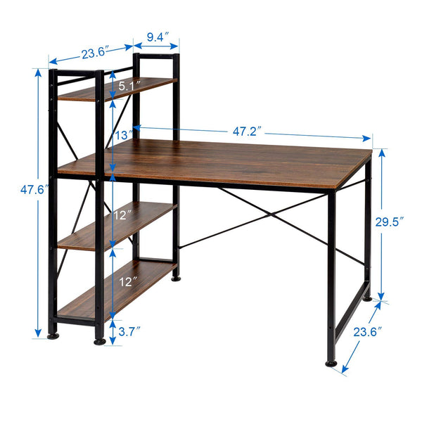 Computer/Study Writing Desk With Bookshelf - Vecelo furniture