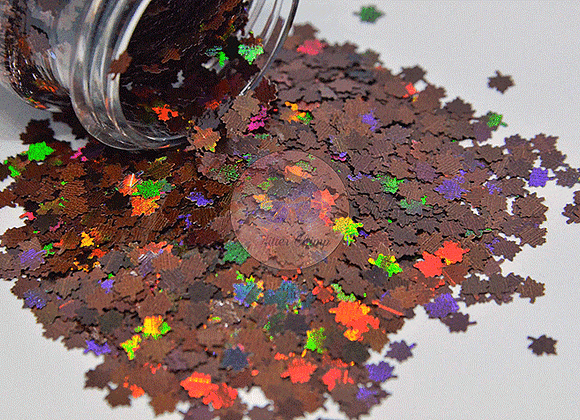 Cocoa Leaves - Holographic Shape Glitter -  1 oz