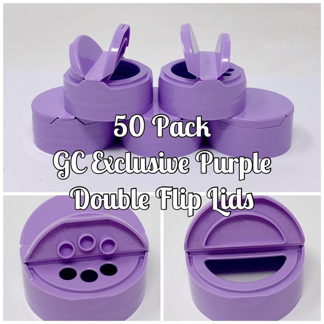 50 - *Exclusive* Glitter Chimp Purple Double Flip Replacement Lid (Lid Only) - 50 Pack
