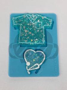 Scrub Love Silicone Mold - Badge Reel