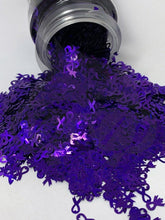 Load image into Gallery viewer, Awareness Ribbon Purple - Shape Glitter -  1 oz