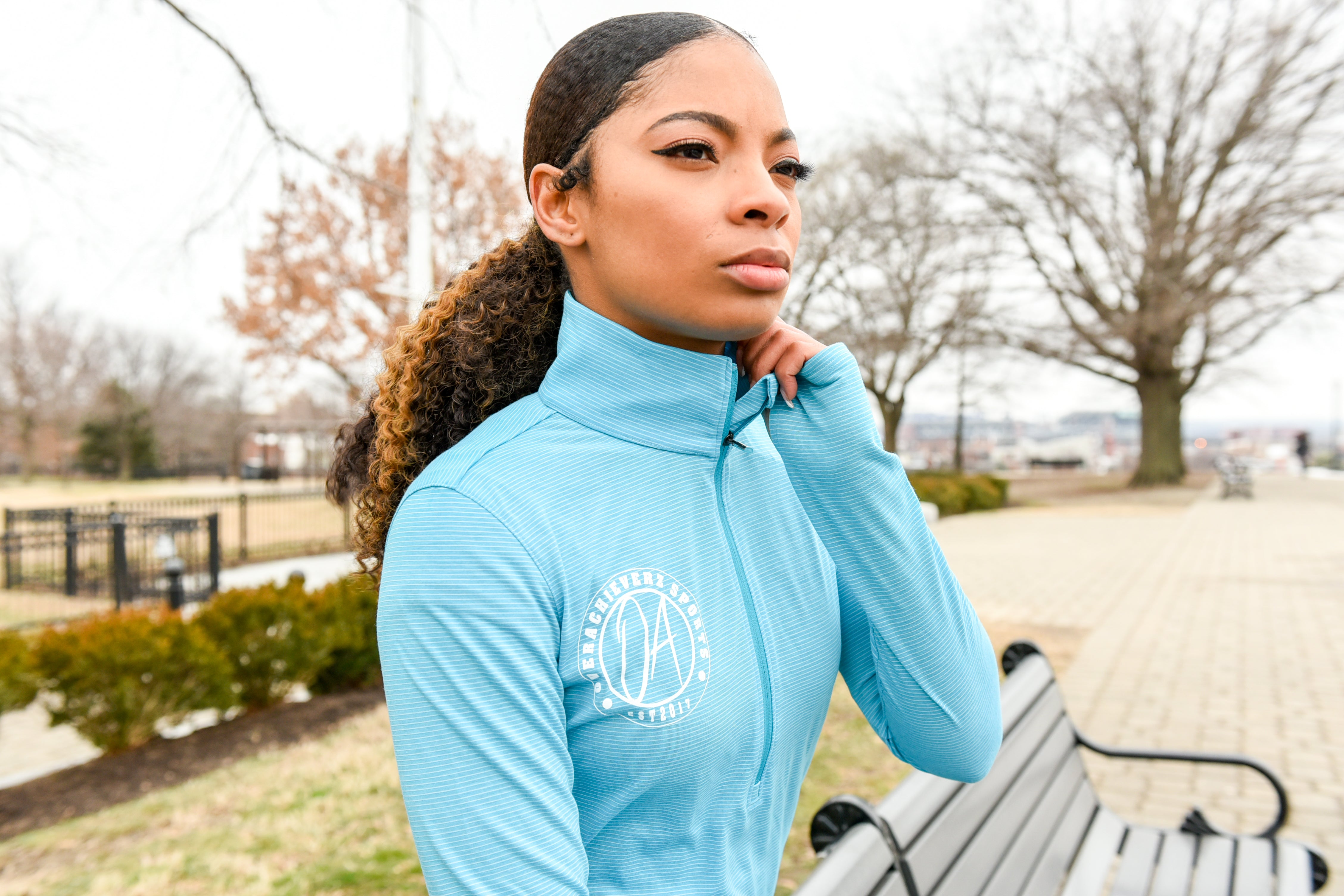 Under Amour X OA Sports Collab  Blue 1/2 Zip Run Shirt