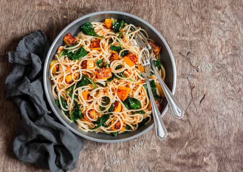 Pumpkin, Spinach and Walnut Spaghetti