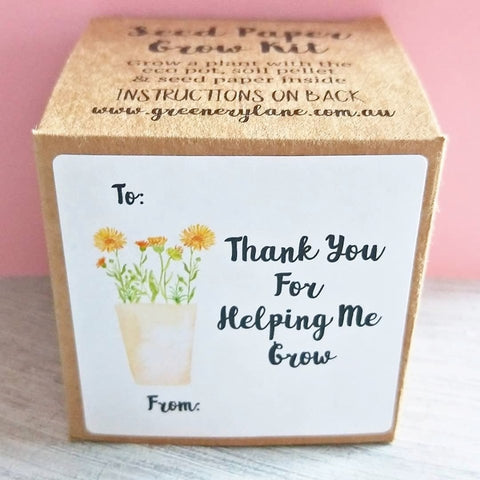 Seed Gift Box for Teachers Thanks For Helping Me Grow Quote