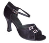 Black Satin Diamonds, Adjustable Width # 161901 - EveriseDanceShoes