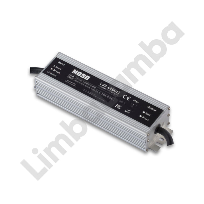MOSO LSV-075B012 Outdoor Metal Case 75W - 12V Constant Voltage LED Driver