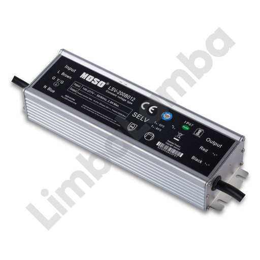 MOSO LSV-200B012 Outdoor Metal Case 200W - 12V Constant Voltage LED Driver