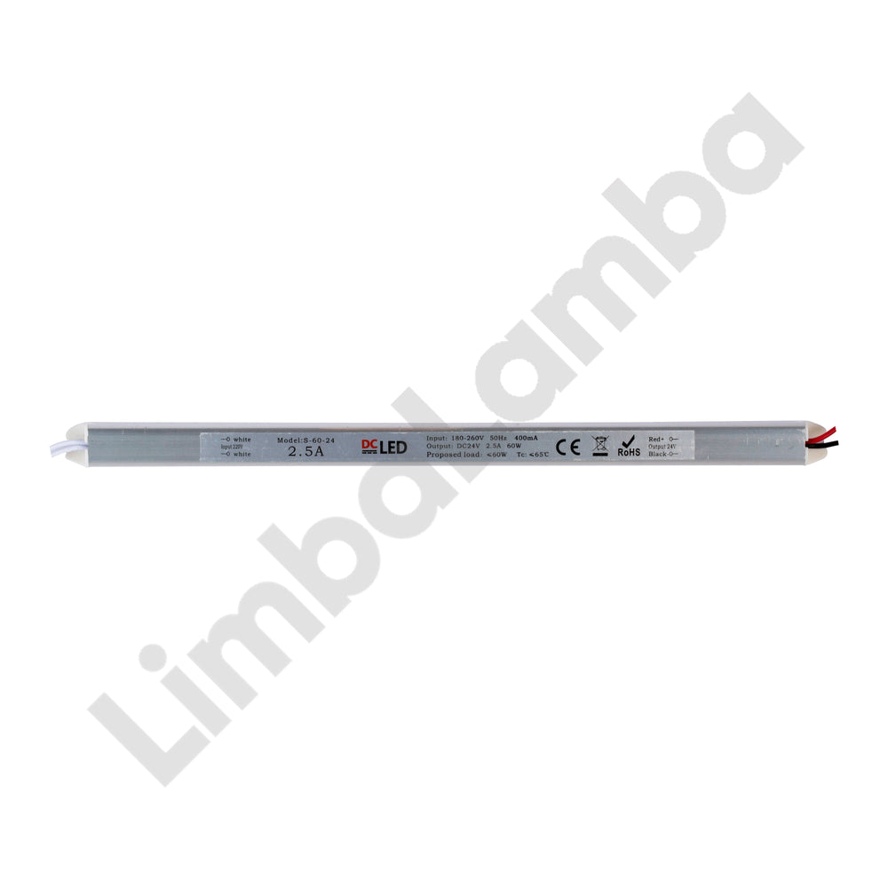 DCLED LL60-24 Indoor - Metal Slim Case 60W - 24V Constant Voltage LED Driver