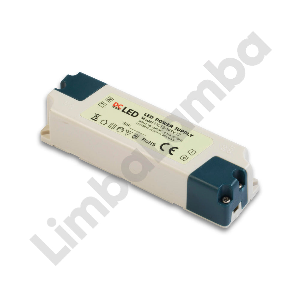 DCLED Indoor PVC Case Constant Voltage LED Driver 15W/12V
