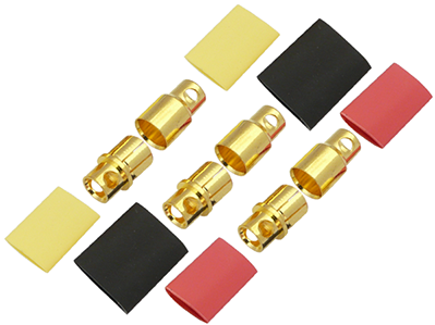 8.0mm Gold Connectors (3 Male & 3 Female)