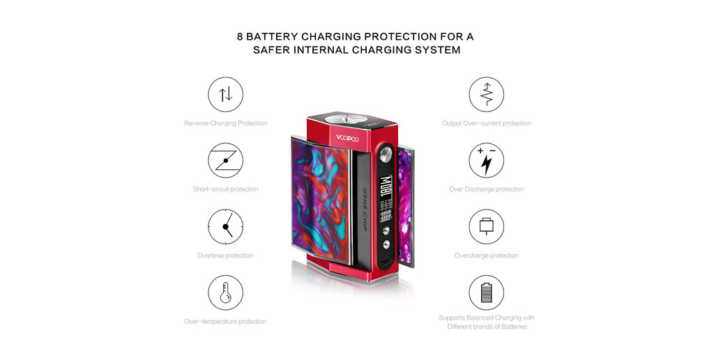 VOOPOO TOO 180W TC Box Mod 8 Battery Charging Protection