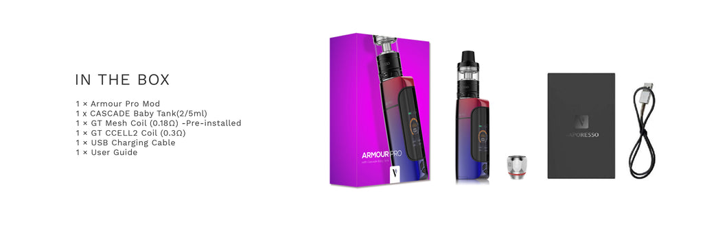 Vaporesso Armour Pro 100W TC Kit with Cascade Baby Package Contents