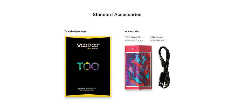 VOOPOO TOO 180W TC Box Mod Standard Accessories