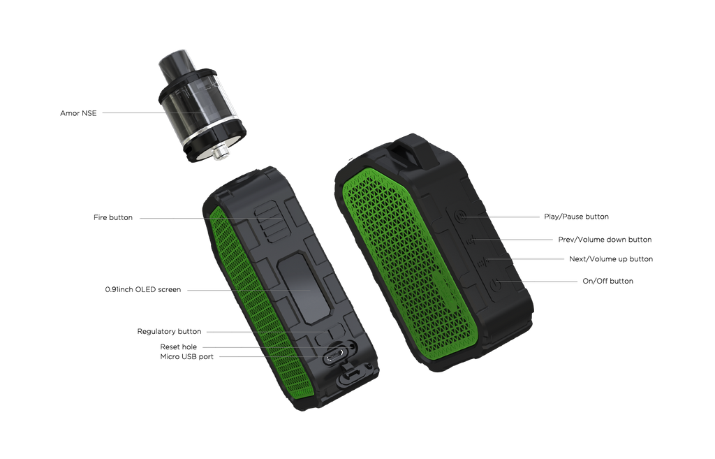 WISMEC Active Bluetooth Music TC Kit with Amor NSE 2100mAh Components