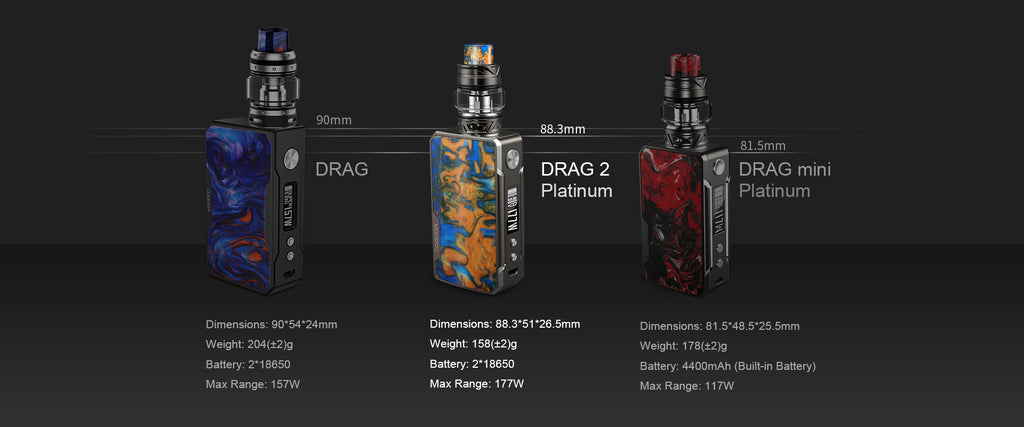VOOPOO Drag 2 Platinum 177W TC Mod Kit Specifications