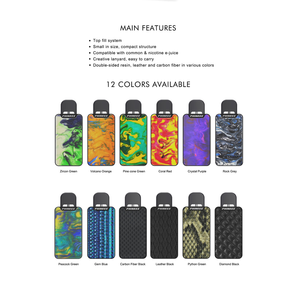 Phiness Vega Vape Pod System Starter Kit Main Features & Colors Available
