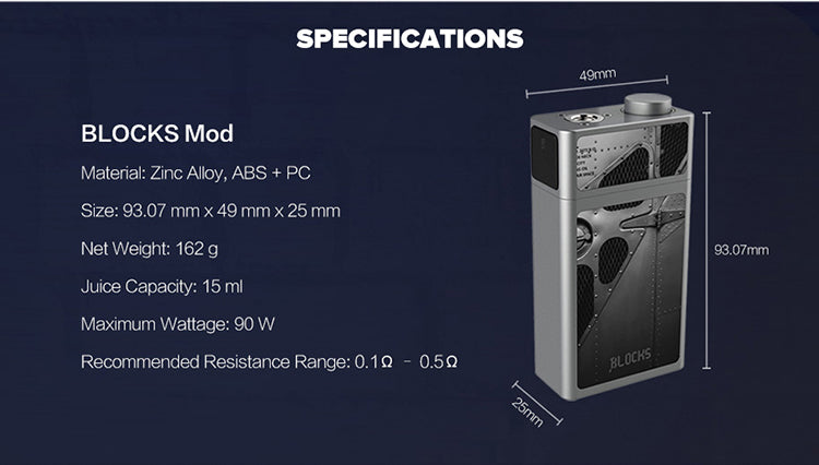 Uwell Blocks Squonk Mod 90W Specifications