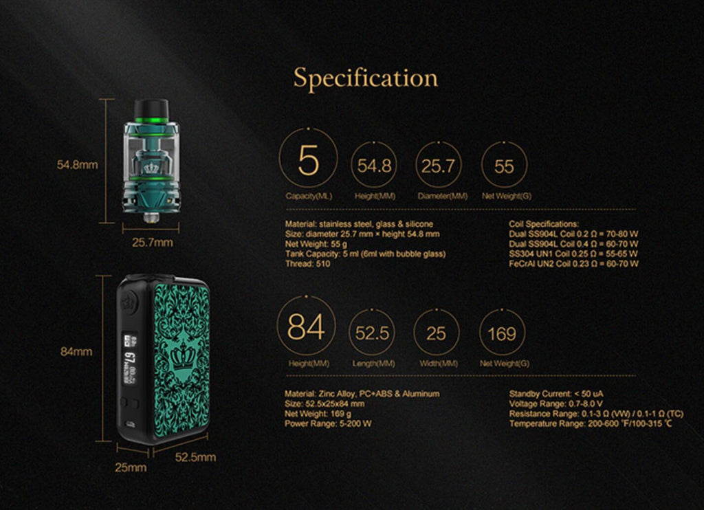 Uwell Crown 4 IV Kit with Crown 4 IV Tank Specification
