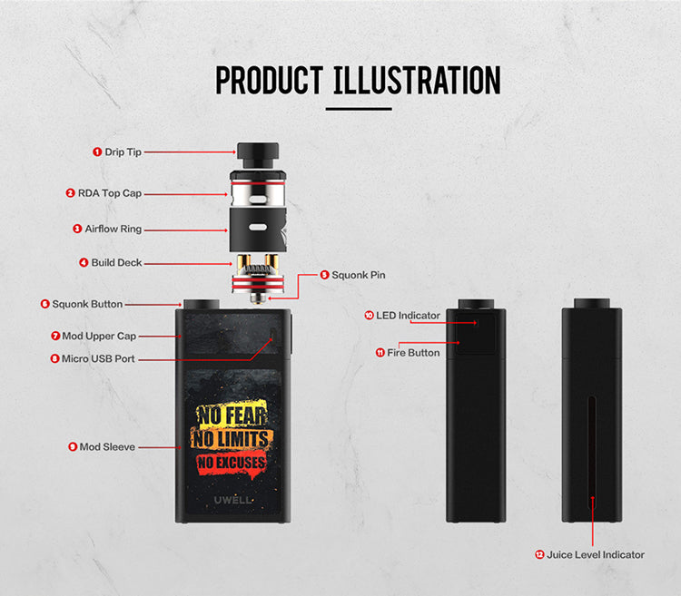Uwell Blocks Squonk 90W Kit with Nunchaku RDA Illustration