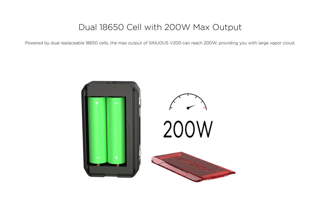 WISMEC SINUOUS V200 TC Mod Kit Dual 18650 Cell With 200W Max Output