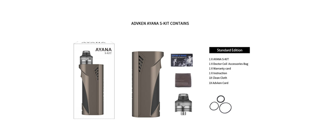 Advken Ayana Single 18650 / 20700 / 21700 Mechanical Kit Package Contents