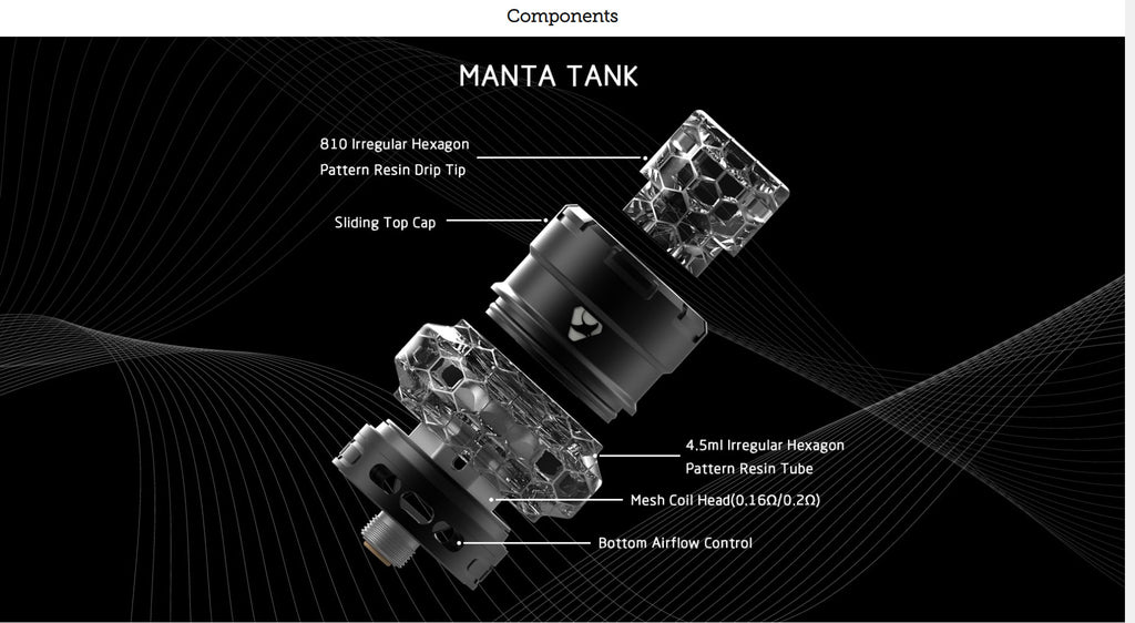 Advken Manta Mesh Tank 4.5ml 24mm Components