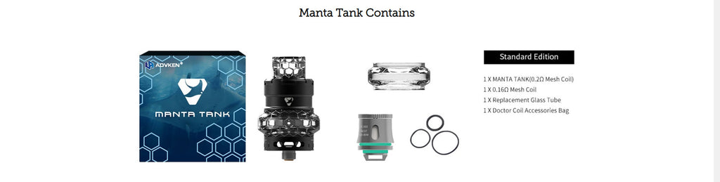 Advken Manta Mesh Tank 4.5ml 24mm Package Contains