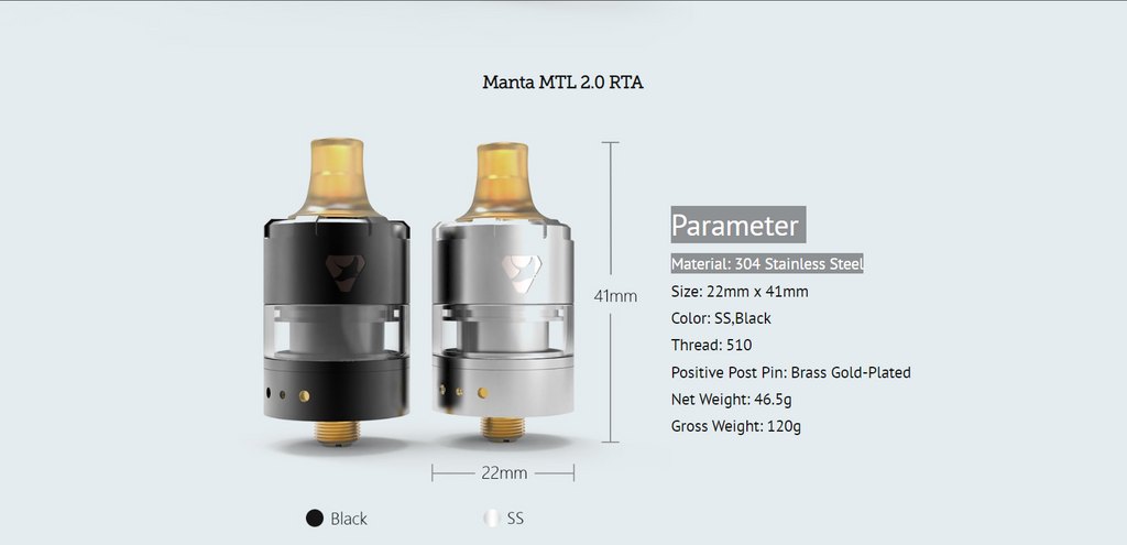 Advken Manta V2 MTL RTA 2ml 22mm Parameter