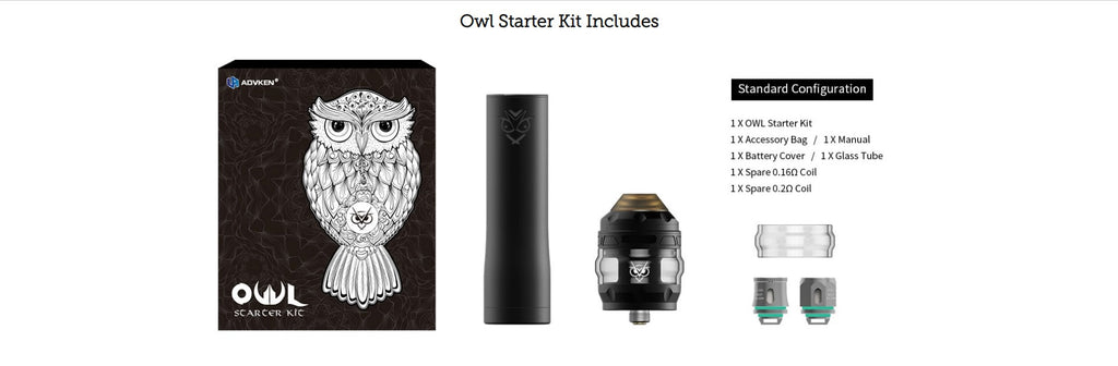 Advken OWL Vape Pen Kit VV Starter Kit Includes